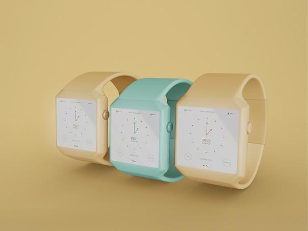 Três modelos de smartwatch