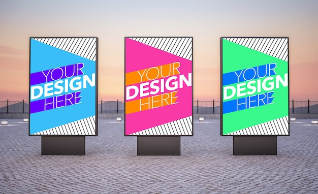 Três outdoors para anúncios comerciais simulados
