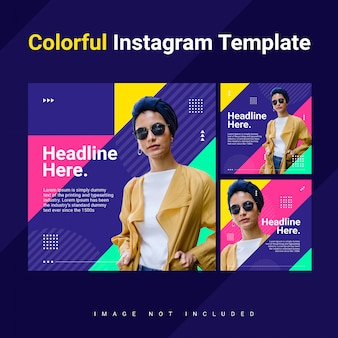 Triângulo instagram feed post modelo mulher colorfull brilhante conceito