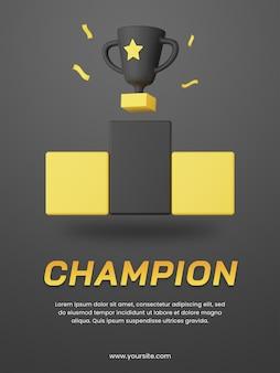 Troféu de campeão 3d com modelo de design de pôster de tema escuro