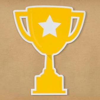 Troféu de ouro com o ícone de estrela