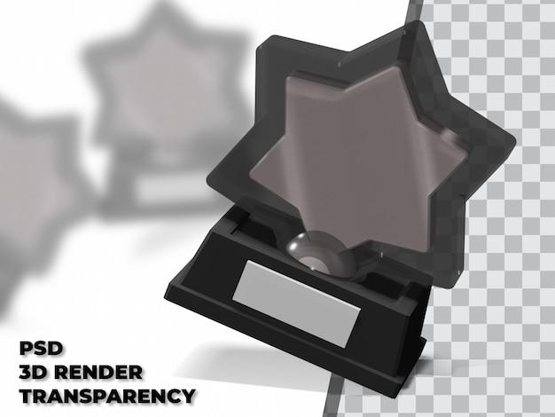 Troféu estrela 3d com fundo transparente