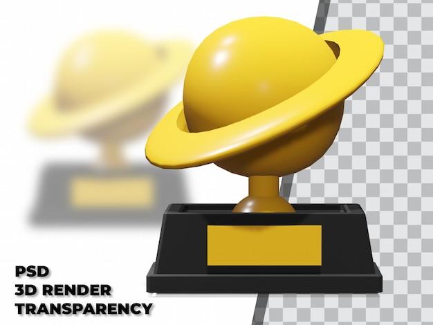 Troféu planeta 3d com fundo transparente