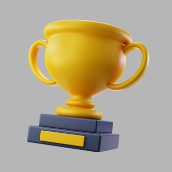 Troféu vencedor de ouro 3d