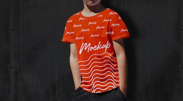 Tshirt para crianças mockup orange