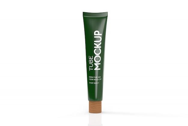 Tubo 3d verde com maquete de tampa de madeira de cedro-cosmética