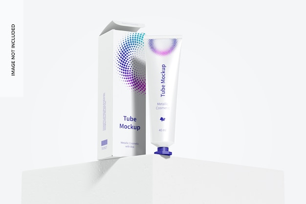 Tubo cosmético metálico de 40 ml com box mockup 02