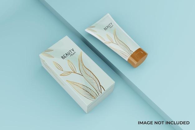 Tubo cosmético minimalista mutável e design de maquete de caixa