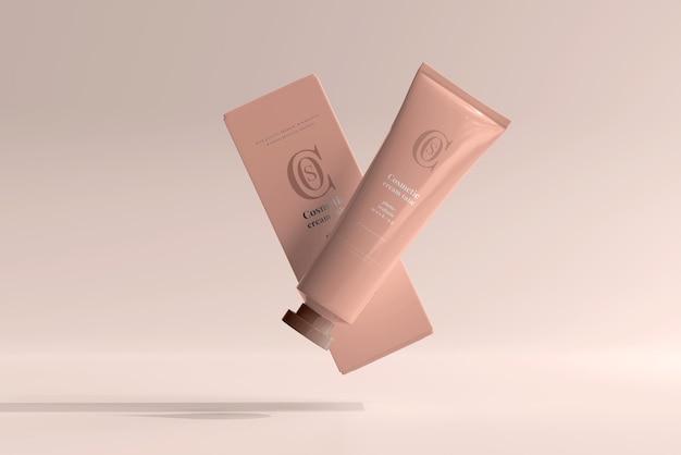 Tubo de creme cosmético com caixa de maquete
