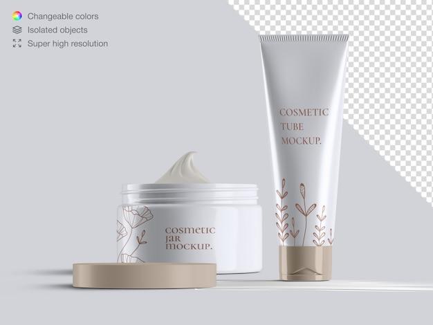Tubo de creme cosmético com vista frontal brilhante e realista e maquete de embalagem do frasco de creme aberto