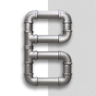 Tubo de metal, alfabeto b