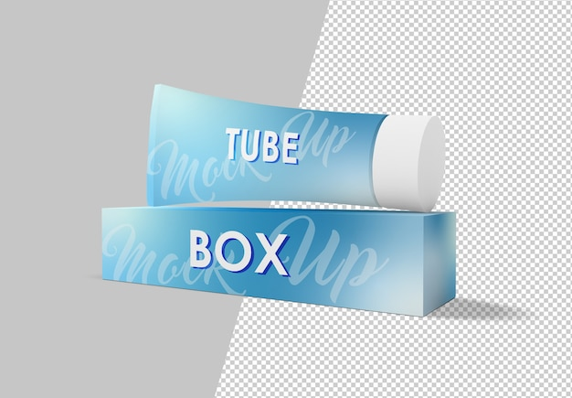 Tubo de pasta de dente com maquete de embalagem