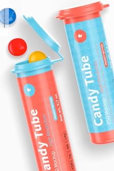 Tubos de bombom com tampa flip, close-up
