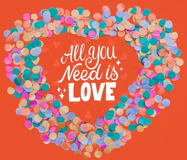 Tudo que você precisa é forma de quadro de confete de texto de amor