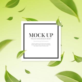 Turbilhão voador verde folhas com modelo de maquete de espaço de cópia