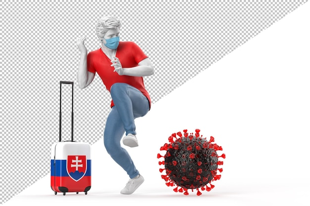 Turista que viaja para a eslováquia com medo da molécula do vírus. conceito de pandemia. renderização 3d