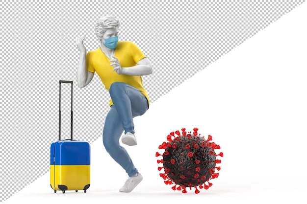 Turista que viaja para a ucrânia com medo da molécula do vírus. conceito de pandemia. renderização 3d