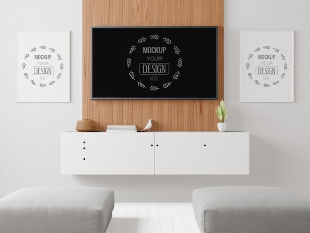 Tv na sala de estar mockup