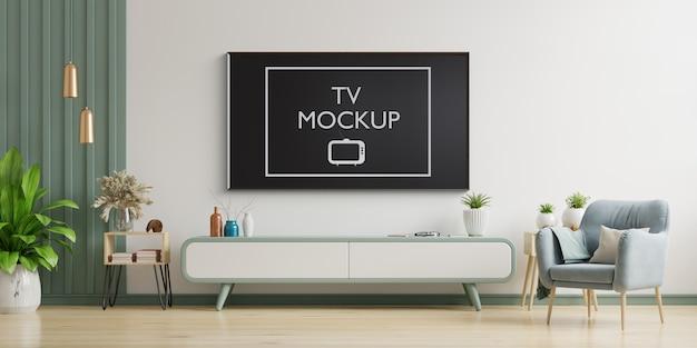 Tv na sala de estar moderna com poltrona, abajur, mesa, flores e plantas. renderização em 3d