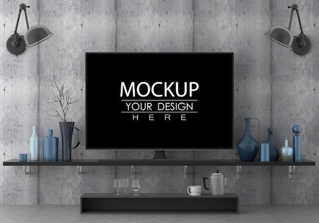 Tv na sala de estar psd mockup