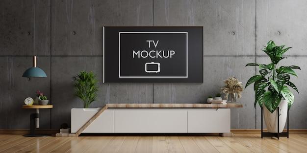 Tv no gabinete na sala de estar moderna parede de concreto, renderização em 3d