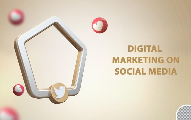 Twitter de mídia social 3d com maquete de quadro