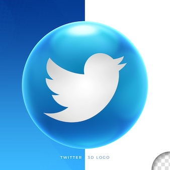 Twitter do logotipo no design 3d da elipse