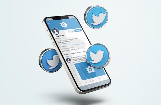 Twitter em silver mobile phone mockup com ícones 3d