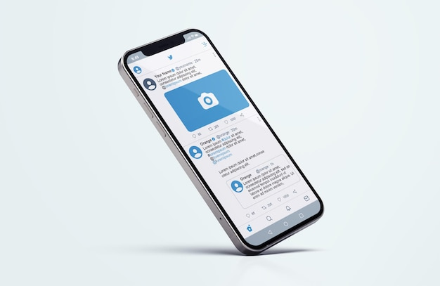 Twitter no silver mobile phone mockup