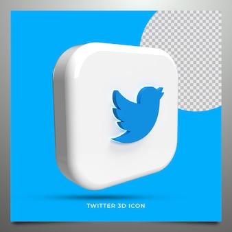 Twitter renderização 3d Psd Premium