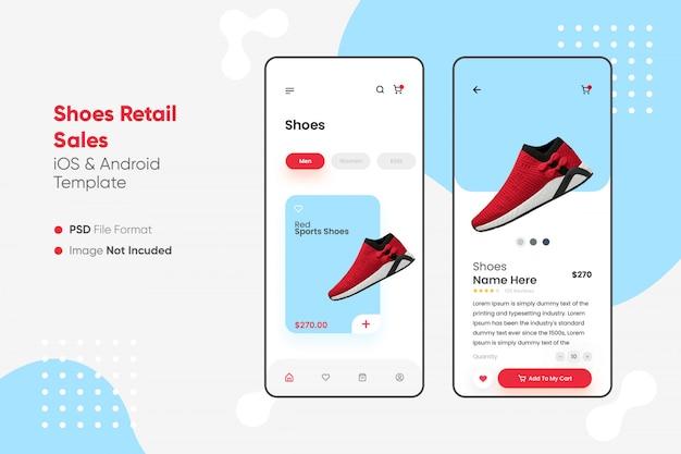 Ui de aplicativo de venda a varejo de calçados