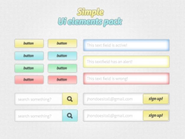 Ui kit colorido com botões e entrada de texto
