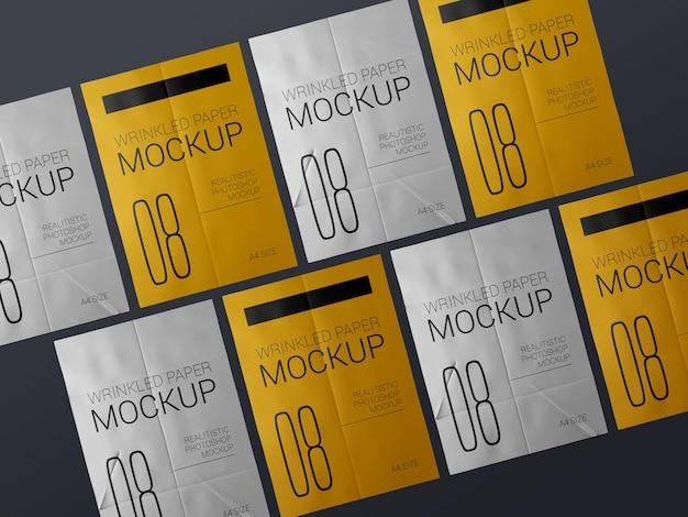 Um grupo de maquete de modelo de cartaz enrugado realista. maquete de cartazes amassados em papel colado molhado.