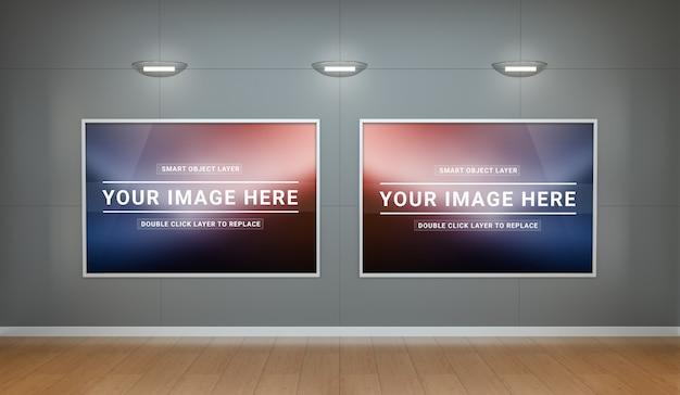 Um interior limpo do museu com tela mockup