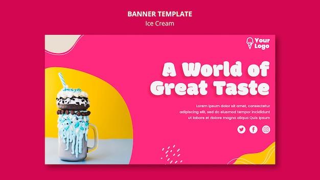 Um mundo de modelo de banner de sorvete de bom gosto
