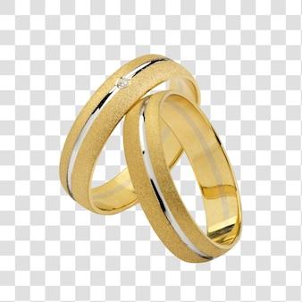 Um par de anéis de casamento, com traçado de recorte.