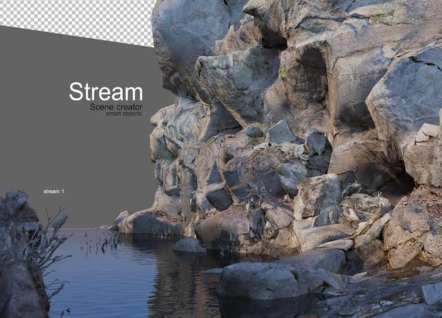 Um riacho fluindo através de uma grande rocha