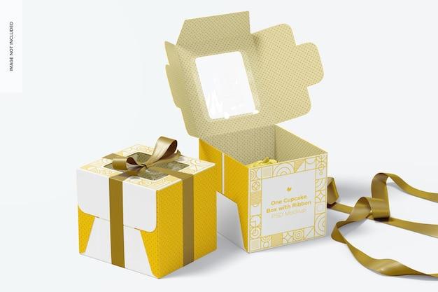Uma caixa de cupcake com fita maquete