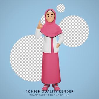 Uma jovem muçulmana teve uma ideia. ilustração de personagens em 3d