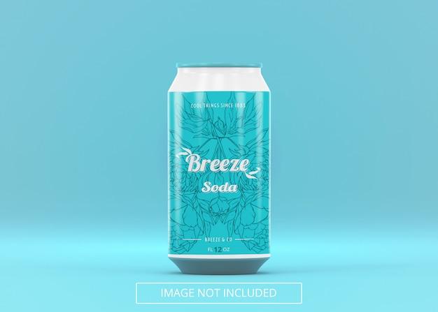 Uma lata de refrigerante de cerveja em pé pode zombar da etiqueta do logotipo ou do adesivo
