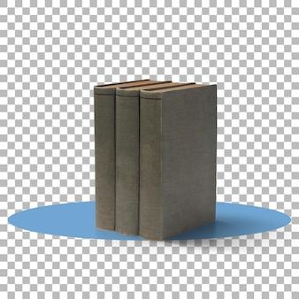 Uma pilha de livros antigos com fundo transparente