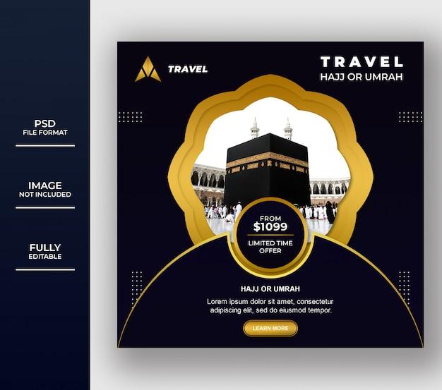 Umrah islâmico e hajj tour e modelo de banner de viagem