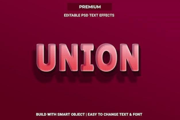 União - efeito de fonte de estilo de texto 3d psd