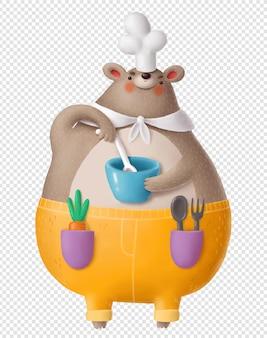 Urso cozinhando segurando uma tigela