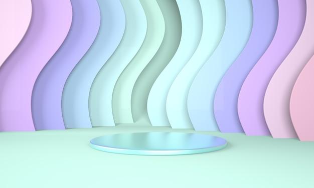 Uso de pódio para apresentação de produto com fundo de onda