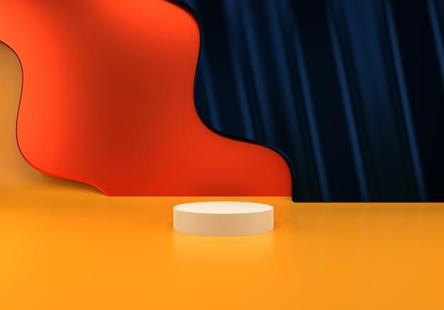 Uso do pódio para apresentação do produto em ondas abstratas de renderização em 3d