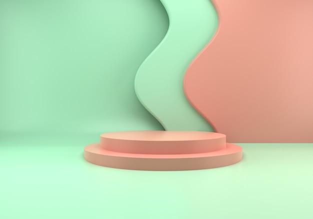 Uso do pódio para apresentação do produto em ondas abstratas em renderização 3d