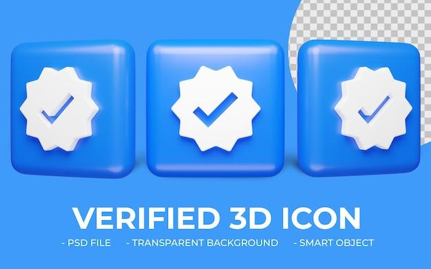 Usuário verificado ou renderização 3d do ícone de verificação