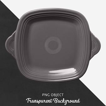 Utensílio quadrado cinzento no fundo transparente