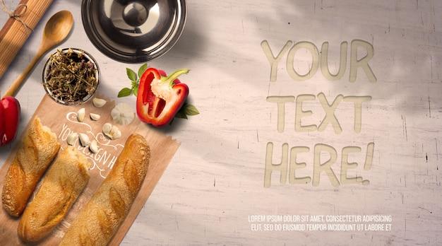 Utensílios de cozinha e maquete de pão com sombras e parede brilhante
